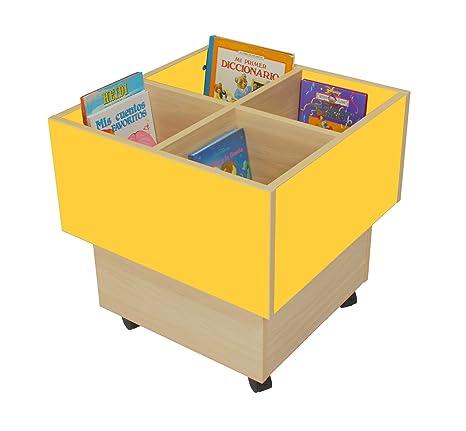 Mobeduc 602103HR17 libreria-Secchio per bambini, in legno, colore: faggio/bianco, 60 x 60 x 60 cm