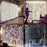 YULIANG Led Light Curtain Icicle Lights 300 Led Christmas Curtain String Fairy Wedding Lights for Home, Garden, Kitchen, Outdoor Wall, Party, Window Decorations 110 V Us Plug (Color: White, Tamaño: SIZE1)