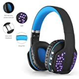 PHOINIKAS Wireless Headset, Gaming Bluetooth Headset Q2, Stereo, Foldable, Built-in Microphone, Cool LED for Xbox, iPads, PC, TV (Color: Blue)