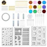 SUBANG 10 Pack Jewelry Casting Molds Silicone Resin Jewelry Molds with 48 Screw Eye Pins, 40 Straight Pins, 5 Plastic Stirrers, 5 Plastic Spoons, 5 Plastic Droppers and 1 Glitter Powder Sequins