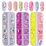 Kalolary 3 Boxes Holographic Nail Sequins, Different Shapes Nail Art Flake Nail Glitter, 3D Iridescent Thin Nail Paillette Manicure Make Up DIY Decals Decoration, Perfect Gift for Valentine's Day