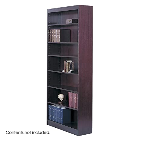Safco 7-Shelf Reinforced Square-Edge Veneer Bookcase, Mahogany