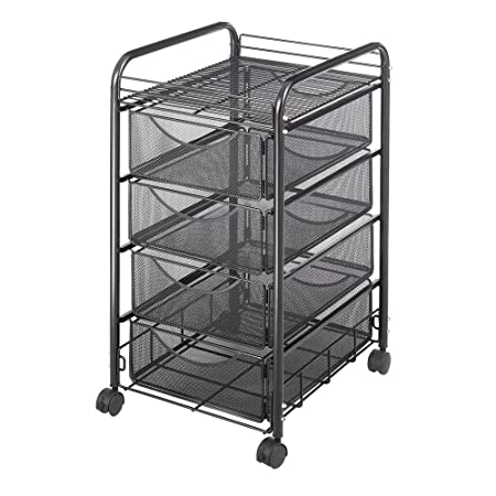 Safco Onyx Mesh Mobile File with Four Supply Drawers- SAF5214BL