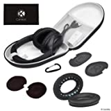 CamKix Ear Pads Replacement and Protective Storage Case Compatible with Bose QuietComfort/SoundTrue/SoundLink Around-Ear Headphones - Models: QC35 II, QC35, QC25, QC15, QC2, AE2, AE2I, AE2W (Color: Case + Black Earpads, Tamaño: for Howard Leight Impact Sport OD)