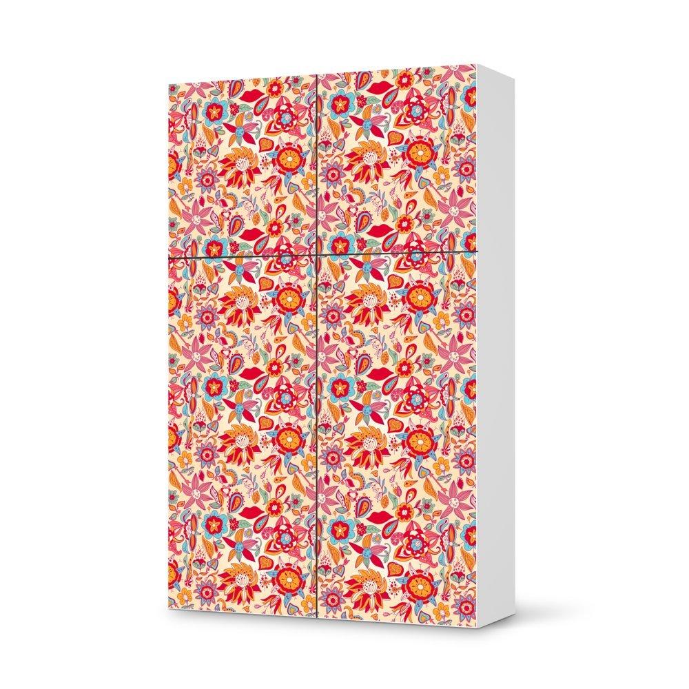 Folie IKEA Besta Schrank Hochkant 4 Türen (2+2) / Design Aufkleber Red Flower Pattern / Dekorationselement günstig bestellen