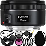 Canon EF 50mm f/1.8 STM Lens Bundle with Accessory Kit (13 Items) for EOS 7D Mark II, 7D, 80D, 70D, 60D, 50D, 40D, 30D, 20D, Rebel T6s, T6i, T5i, T4i, SL1, T3i, T6, T5, T3, T2i, T1i, XSi, XS, XTi, XT