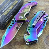 TAC Force Spring Titanium Rainbow Blade Dragon Assist Rescue Glass Breaker Pocket Knife