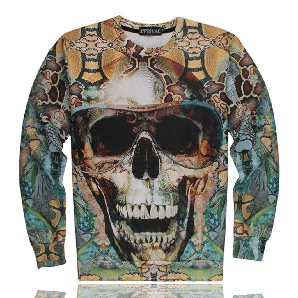 Unisex Long Sleeves Shirt Hoodie Tee Skull 3D Printed