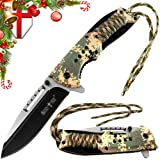 Grand Way Spring Assisted Pocket Knife - Tactical Army Camo Knife with Paracord - Folding Knife with Digital Camouflage Handle & Black Military Blade - Best EDC Knives for Hunting Fishing and Camping (Color: Camo 4, Tamaño: Medium)