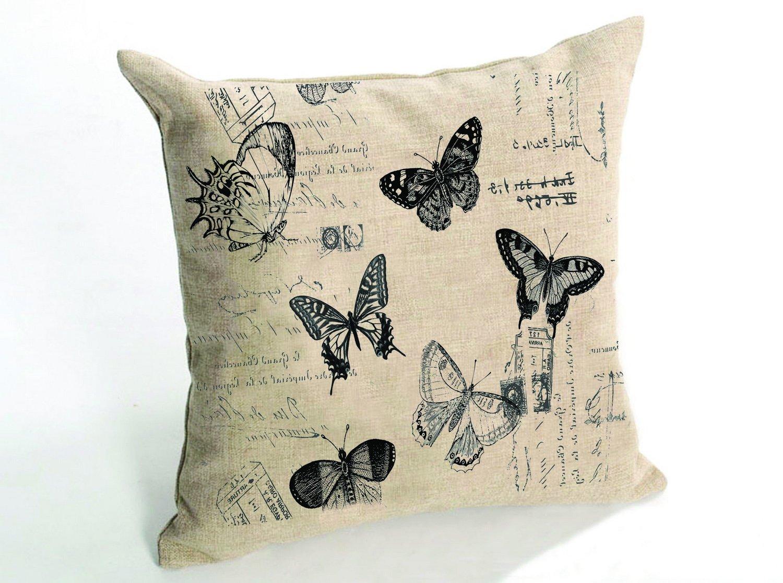 Generic Cotton Linen Square Decorative Bed Big Pillow Cushion Covers Flowers sofa decorative pillow pastoral style flowers pattern square soft cushion
