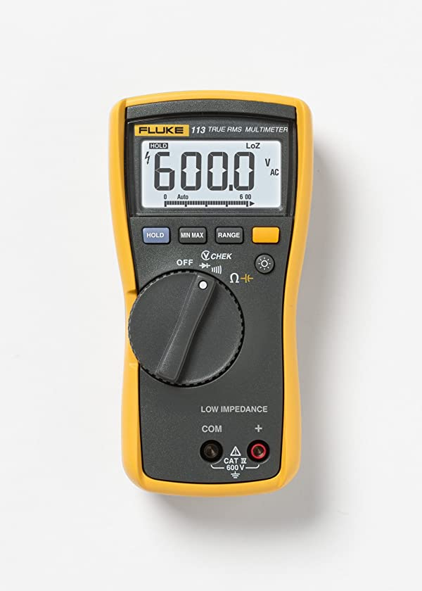 Fluke 113 True-RMS Utility Multimeter with Display Backlight, 9V Alkaline Battery, 600V Voltage with a NIST-Traceable Calibration Certificate with Data