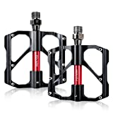 Beauty Star Bike Pedals, Bicycle Pedals 9/16 Inch Spindle Universal Cycling Pedals Aluminium Alloy Lightweight Mountain Bike Pedal for MTB, Road Bicycle, BMX (Black,1 pair) (Color: black)
