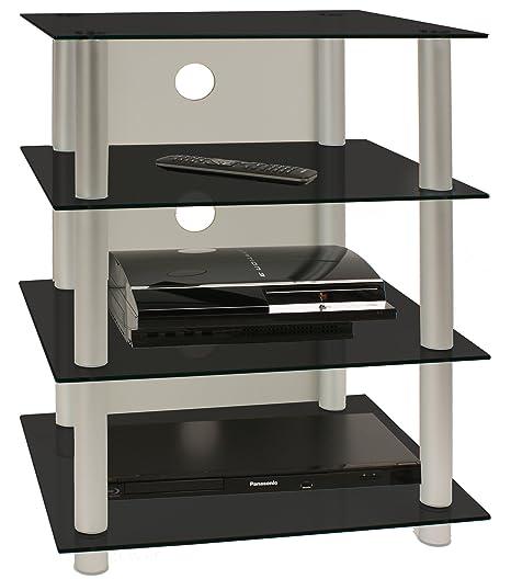 VCM Blados - Mueble para equipo de alta fidelidad, cristal de color negro