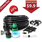 king do way Misting Cooling Irrigation System for Garden Patio Greenhouse Micro Flow Drip Irrigation Kit with 32.8ft Tubing and 10 Misting Nozzles Qui