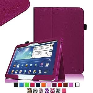 Fintie Folio - Funda con función de atril para Samsung Galaxy Tab 3 (10,1, piel, función automática de encendido y apagado, soporte para bolígrafo), color morado  Informática revisión y descripción más