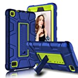 Zenic All-New Amazon Fire 7 2017 Case, Three Layer Heavy Duty Shockproof Full-body Protective Hybrid Case Cover With Kickstand for Kindle Fire 7 2017 / All-New Fire HD 7 (Yellow/Blue)