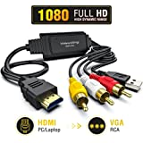 HDMI to RCA Cable – Hassle Free - Converts Digital HDMI signal to Analog RCA/AV – Works w/ TV/HDTV/XBOX 360/PC/DVD & More – All-In-One Converter Cable Saves You Money - HDMI to AV Converter (black)