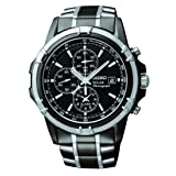 Seiko Men's SSC143 Stainless Steel Solar Watch with Link Bracelet (Color: black, Tamaño: NO SIZE)