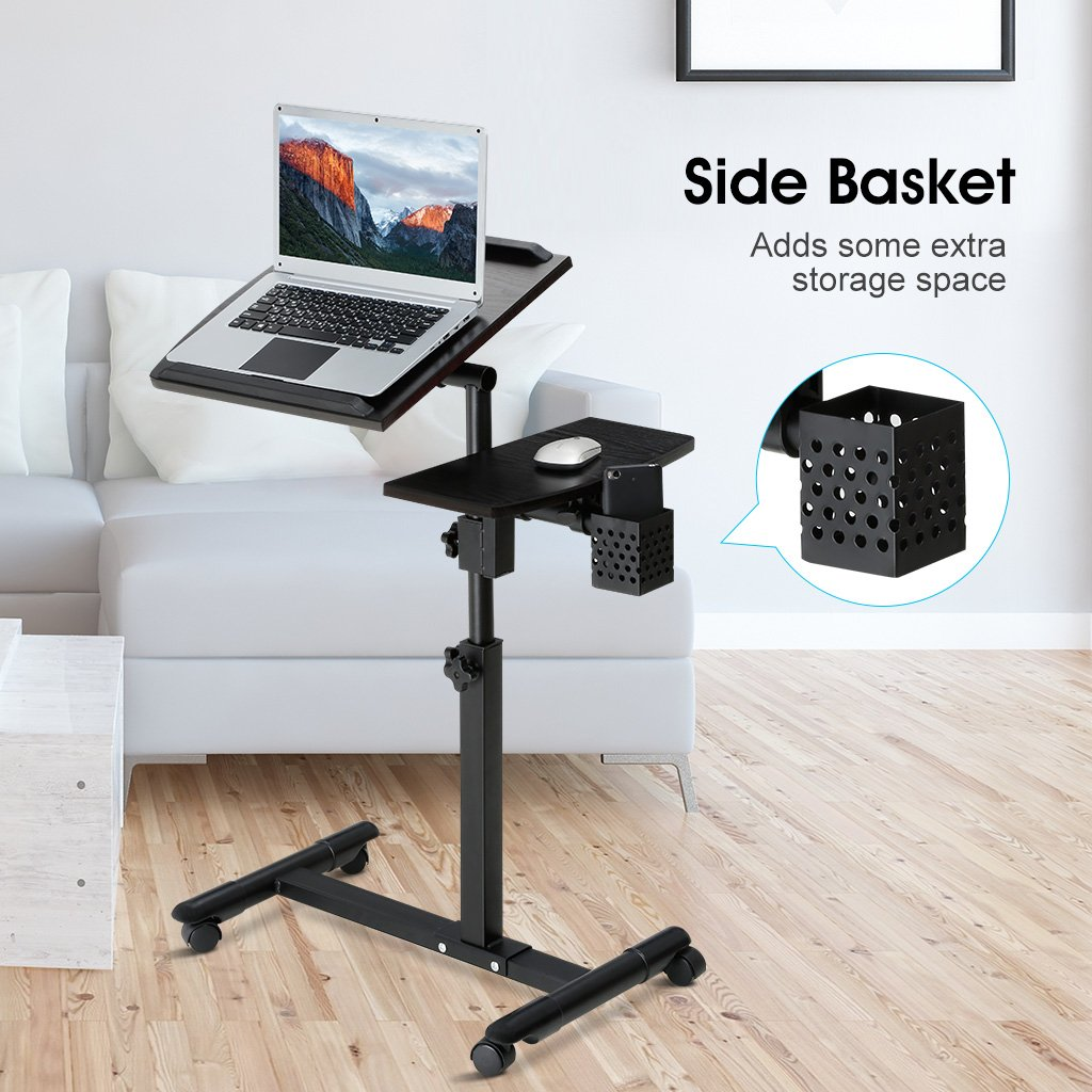 LANGRIA Laptop Stand Rolling Cart, Foldable Portable Mobile Height Adjustable Standing Table with Side Basket for Home Office