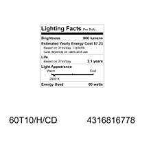 GE Lighting 16778 60-Watt Halogen Tubular T10 Light Bulb, 1-Pack
