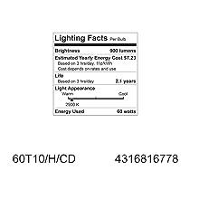 GE Lighting 16778 60-Watt Halogen Tubular T10 Light Bulb, 1-Pack