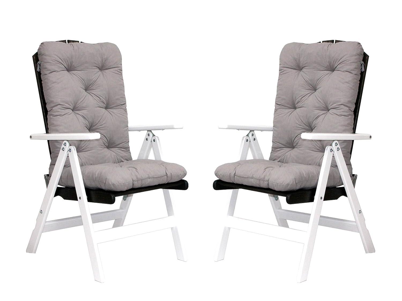 Trendy-Home24 Klappstuhl Set 4tlg. Holzstuhl weiß/taupe braun grau 7fach verstellbar Gartenstuhl mit Hochlehner Auflagen Kissen Polster grau online bestellen