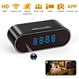 Spy Camera 1080P WiFi, Hidden Cameras Clock Video Recorder Wide Angle Lens Wireless IP Camera for Indoor Home Security Monitoring Nanny Cam with Night Vision Motion Detection (Color: black)