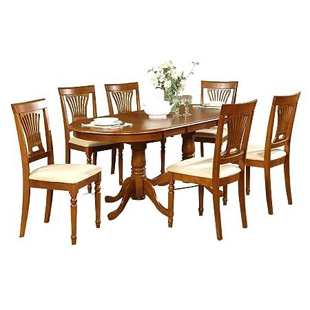 East West Furniture PLAI5-SBR-C 5-Piece Dining Table Set