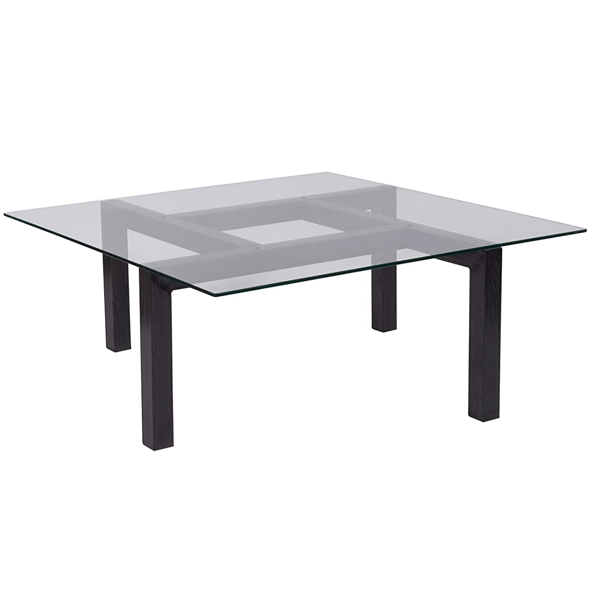 Flash Furniture Overton Collection Glass Coffee Table with Black Wood Grain Finish Legs