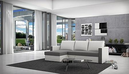SAM® Schlafsofa BESIANA in grau weiß Wohnzimmer Ecksofa 145 x 236 cm inklusive Ruckenkissen Ottomane links, auch in rechts erhältlich montierbar pflegeleicht Lieferung per Spedition