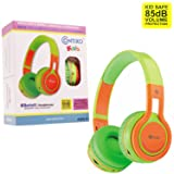 Contixo KB2600 Kid Safe 85db Foldable Wireless Bluetooth Headphone Built-in Microphone, Micro SD card Music Player, FM Stereo Radio (Green w/Orange) - Best Gift