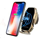 KMI CHOU A5 Phone Holder for Car,Automatic Clamping IR Intelligent Wireless Car Charger Mount - Car Charger Holder 10W Fast Charging for iPhone Xs Max/XR/X/8/8Plus Samsung S10/S9/S8/Note 8-Metal Gold (Color: Metal Gold)