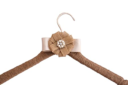 Wedding Dress Hanger Rustic Farmhouse Burlap Jute Bridal Shower Gift (Ivory)