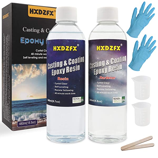 HXDZFX Epoxy Resin Coating 18.5oz Kit Silicone Molds Making Kit Crystal Clear Resin for Jewelry Making, Wood finishes, Art Work,Contain 2 pcs Graduated Cups, 2pcs Sticks, 1 Pair Rubber Gloves