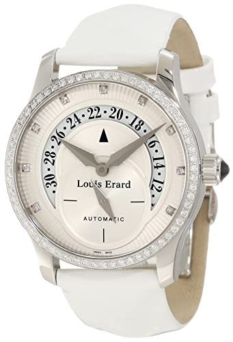 """Louis Erard Women's 91601SE50.BDV12 """"Emotion"""" Diamond-Accented Stainless Steel Watch with Leather Band"""