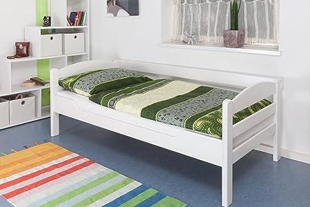 """Einzelbett """"Easy Sleep"""" K1/n/s, Buche Vollholz massiv weiß lackiert - Maße: 90 x 200 cm"""