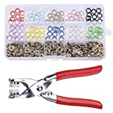 DFUTE Snap Fasteners Kit 100 Sets/9.5 MM/10 Colors, Metal Snaps for Clothing, Snap Button with Snaps Pliers and Storage Containers, Sewing Snaps for Leather, Coat, Down Jacket, Jeans Wear, Bags (Color: Multicolored)