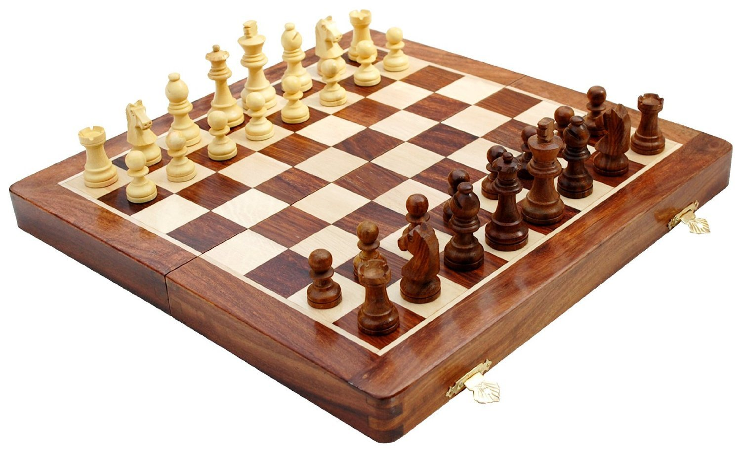 Wooden magnetic travel chess set w staunton pieces folding game board 10 39 39 ebay - Simple chess set ...