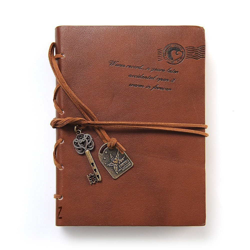 EvZ Diary String Key Leather Bound Notebook, Brown 0