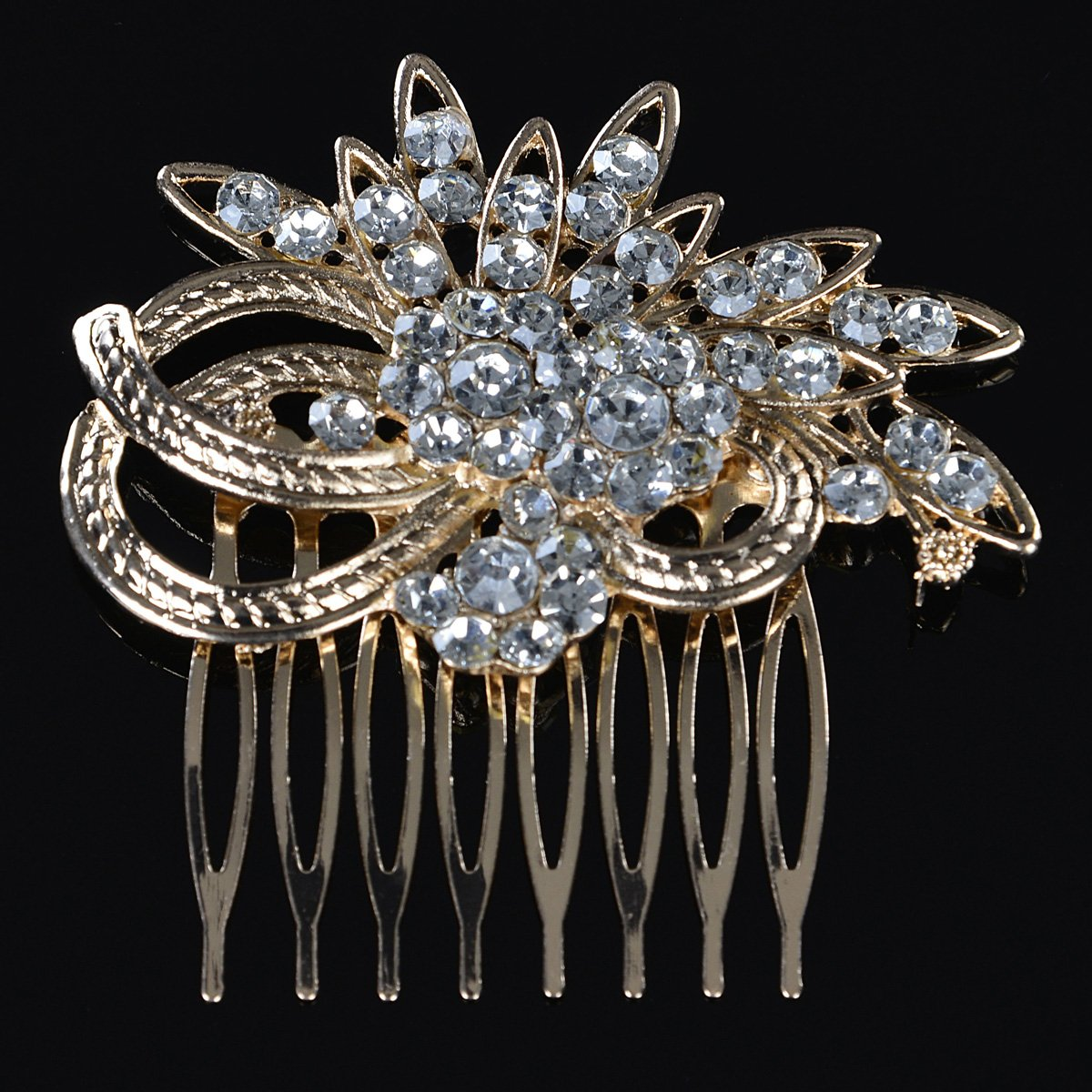 Remedios Vintage Crystal Bridal Hair Comb Wedding Hair Accessory, Light Gold 1