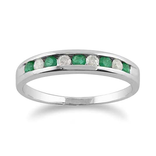 9ct White Gold 0.22ct Natural Emerald & Diamond Half Eternity Band Ring