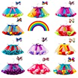 Toddlers Girls Rainbow Tutu Skirt with Headband,Tulle Layered Ballet Skirts Little Girls Dressing Up Dancing Party Tutu (Color: F-purple, Tamaño: 2-4 Years)