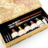 GC QUILL MU-02 Calligraphy Pen Set, Glass Dip Pen and Handcrafted Wooden Dip Pen Gift Set with 5 Colors Calligraphy Ink 6 Nibs 1 Pen Holder, Calligraphy Set for Beginners (Color: Natural Wood Color)
