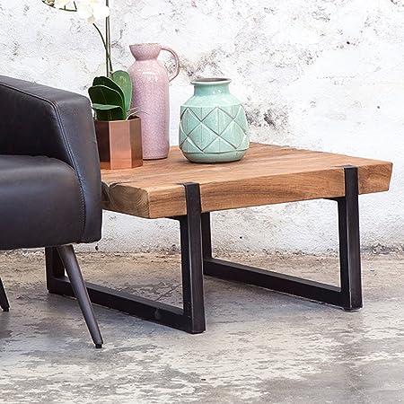 Industrie Design Couchtisch CELEBES Holztisch Massivholz Metall Sofatisch Tisch