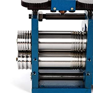 ZHFEISY 1PC Manual Rolling Mill Machine - 3'' Manual Combination Rolling Mill Machine Roller Flat Pattern Sheet Jewelry DIY Tool & Equipments (Color: Blue)