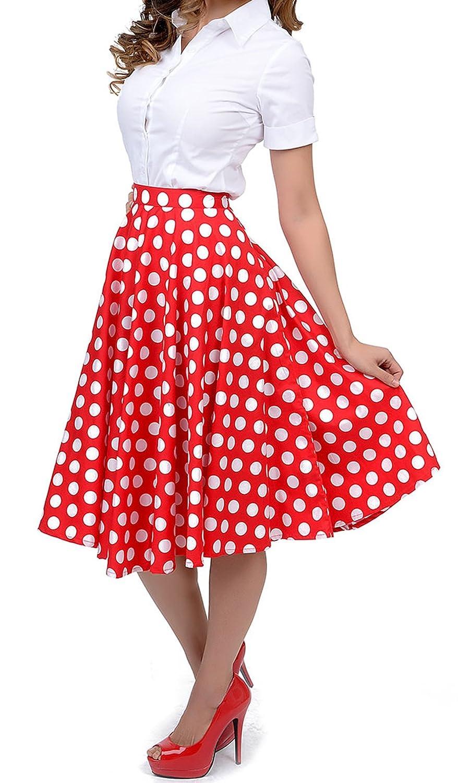 1950s Style Red White Polka Dot Mariam Swing Circle Skirt on amazon