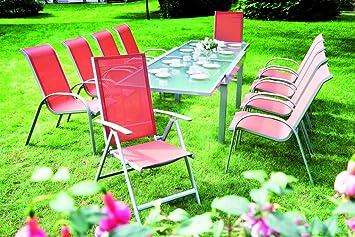 7-tlg. Luxus - Sitzgruppe Amalfi, Alu + Glas + Kunstgewebe terracotta