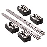 TEN-HIGH CNC parts 2pcs linear rail HSR15 1500mm Approx. 59.06inch Linear Guideway Rail+4pcs HSR15CR Square type carriage bearing block (Tamaño: 1500mm)