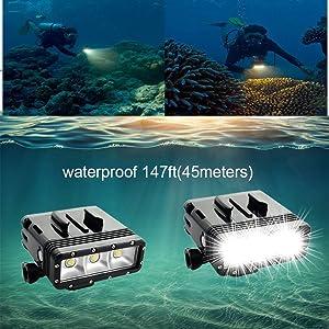 Suptig High Power Dimmable Dual Battery Waterproof LED Video Light Fill Night Light Diving Underwater Light for Gopro Hero6/5/5S/4/4S/3+/3/2 SJCAM Sj4000/Sj5000/Sj6000/Sj7000 Xiaoyi