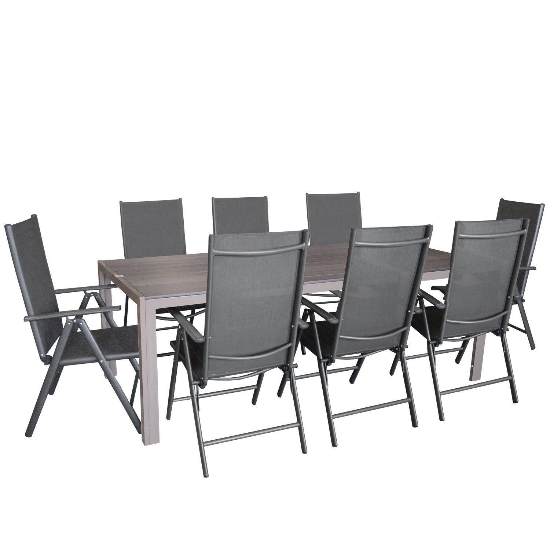 9tlg. Sitzgarnitur, Aluminium Gartentisch Tischplatte aus Polywood Champagner 205x90cm, 8x Aluminium-Hochlehner mit 2x2 Textilenbespannung, 7-fach verstellbar, klappbar, anthrazit - Sitzgruppe Gartengarnitur Gartenmöbel